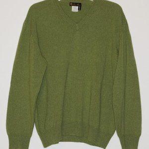 Loro Piana 100% Cashmere V-Neck Olive Sweater